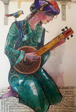 suonatrice curda, grafica di Fuad Aziz